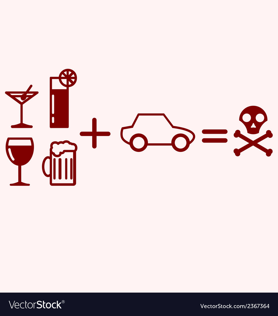 Alcohol plus driving equals danger vector | Price: 1 Credit (USD $1)