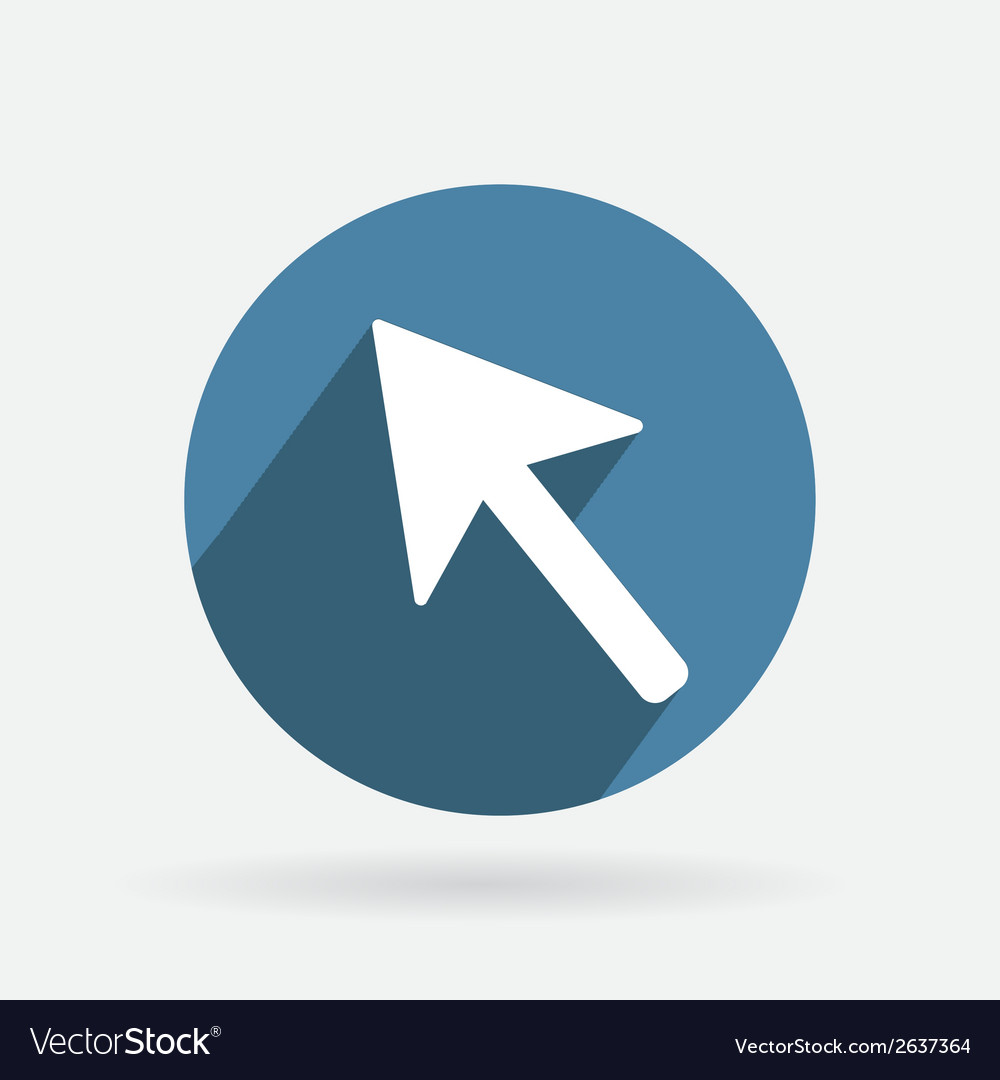 Circle blue icon with shadow web arrow vector | Price: 1 Credit (USD $1)