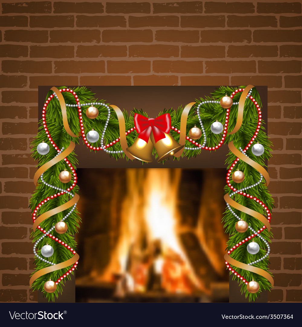 Fireplace and christmas garland vector | Price: 1 Credit (USD $1)
