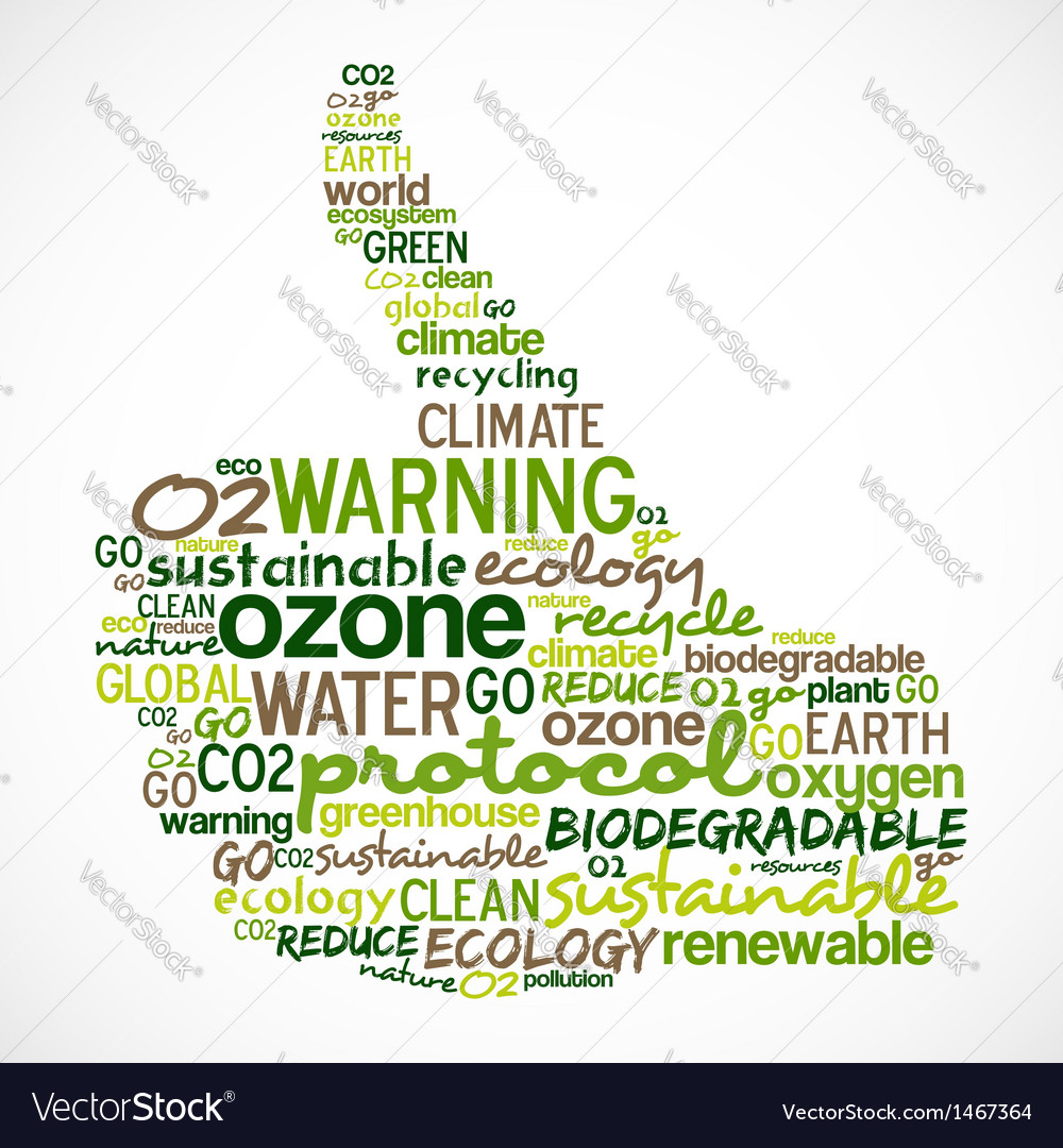 Go green words cloud about ecology in hand vector | Price: 1 Credit (USD $1)