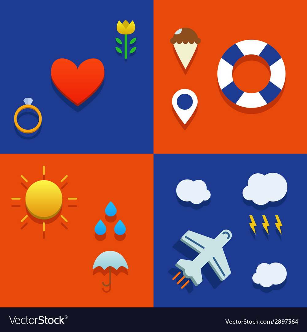 Infografic icon set with love weather flying and vector | Price: 1 Credit (USD $1)