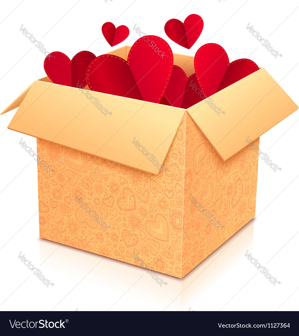 Ornate open box with red paper hearts inside vector | Price: 1 Credit (USD $1)