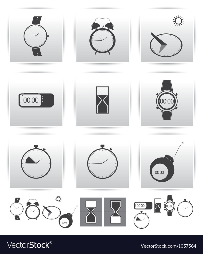 Set icons time and clock vector | Price: 1 Credit (USD $1)