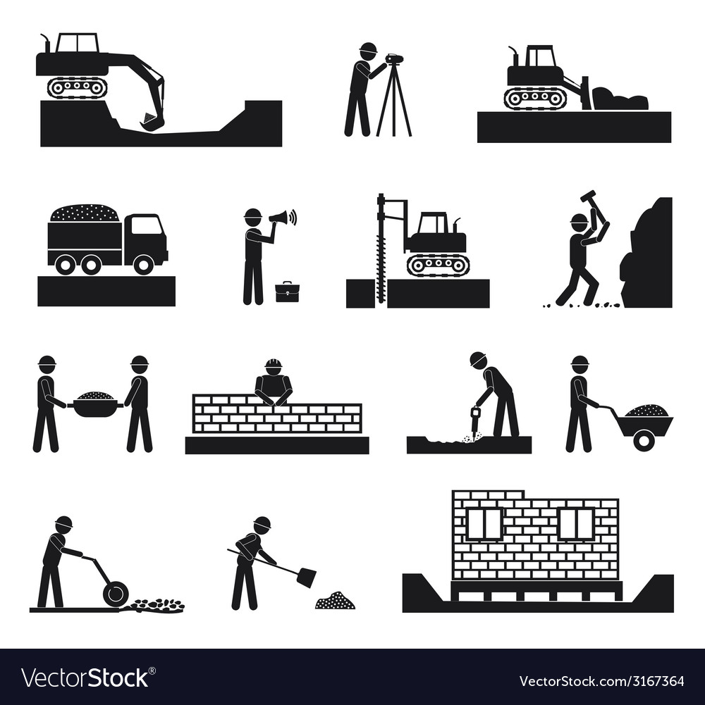 Set of builder construction industry icons vector | Price: 1 Credit (USD $1)