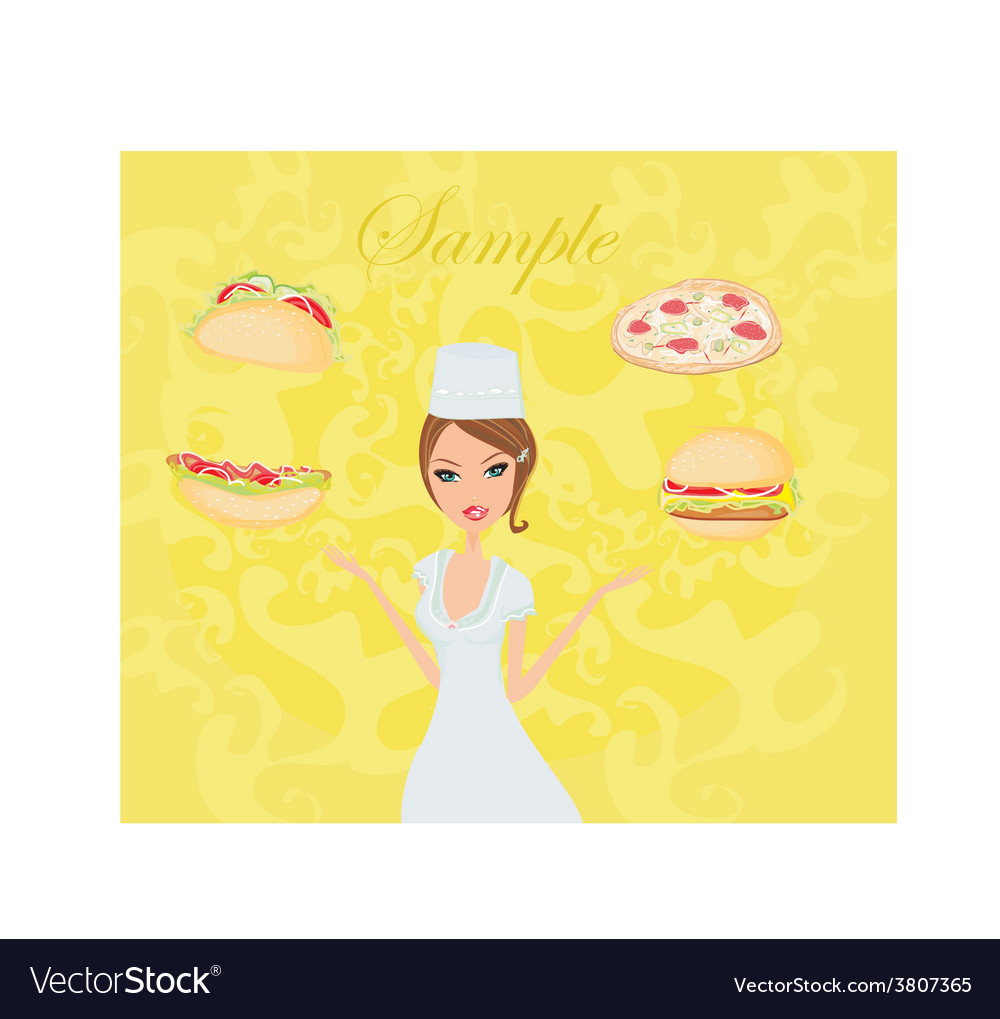 Beautiful lady chef cooking - set food card vector | Price: 1 Credit (USD $1)