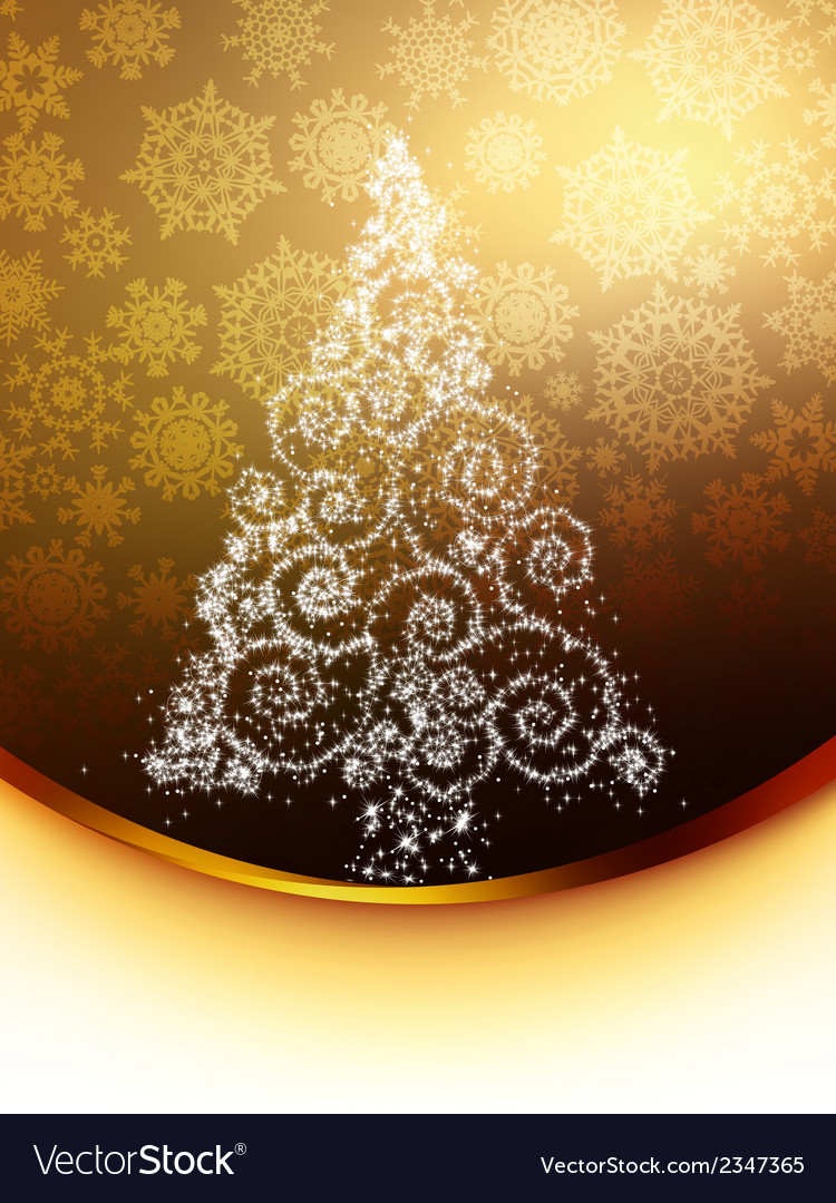 Christmas tree on golden eps 8 vector | Price: 1 Credit (USD $1)