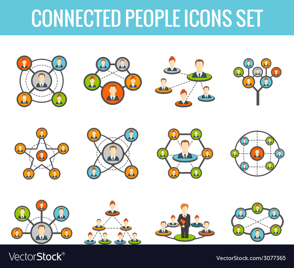 Connected people flat icons set vector | Price: 1 Credit (USD $1)