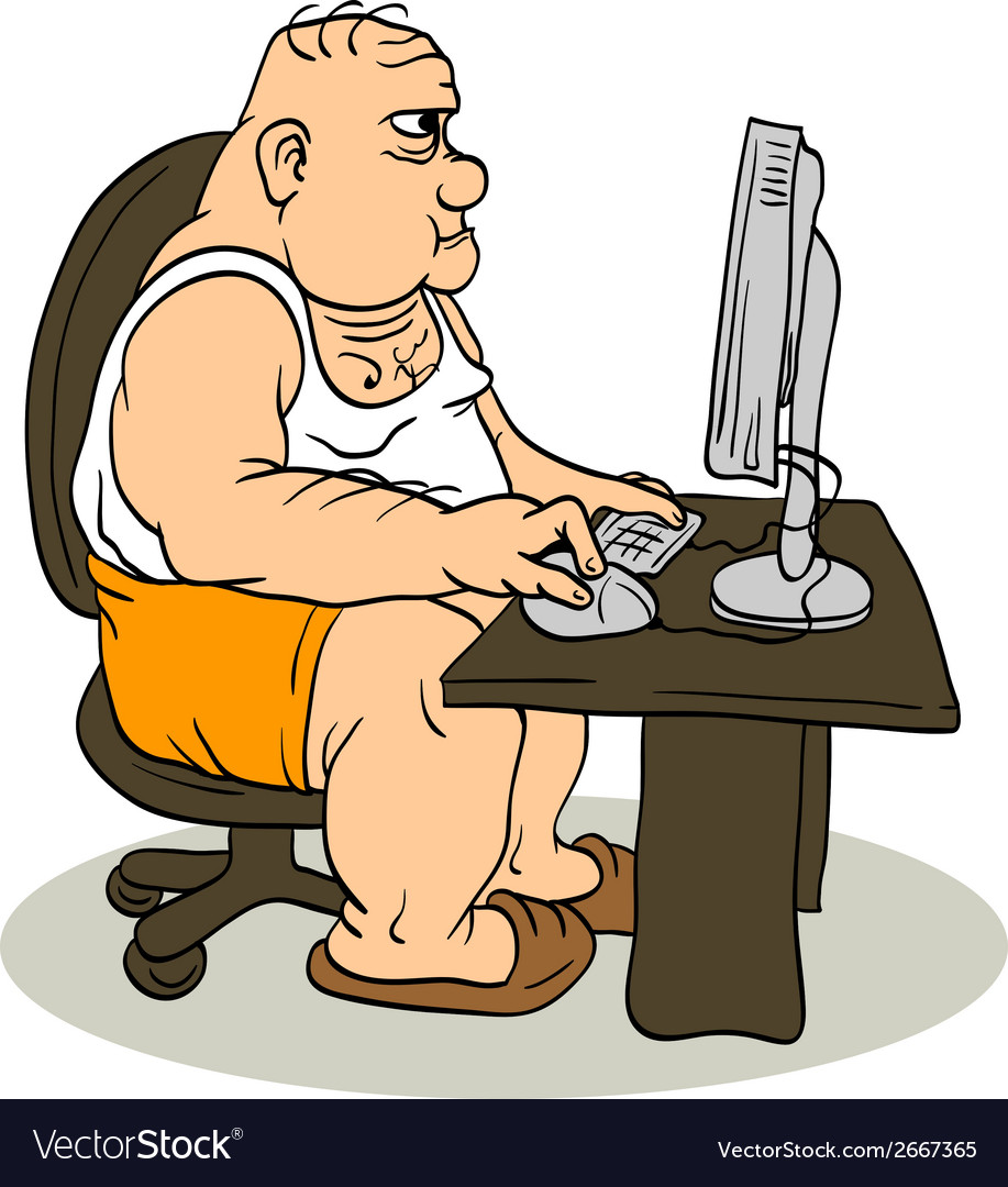 Fat man at the computer vector | Price: 1 Credit (USD $1)