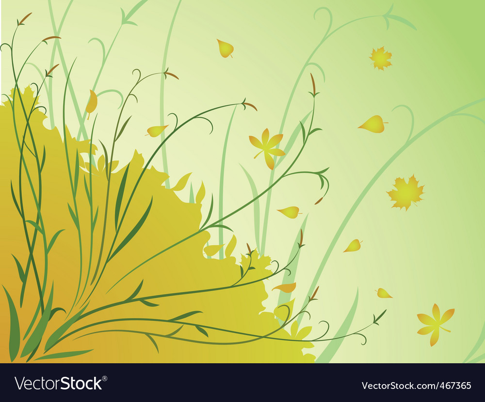 Floral autumn background stem leaves vector | Price: 1 Credit (USD $1)