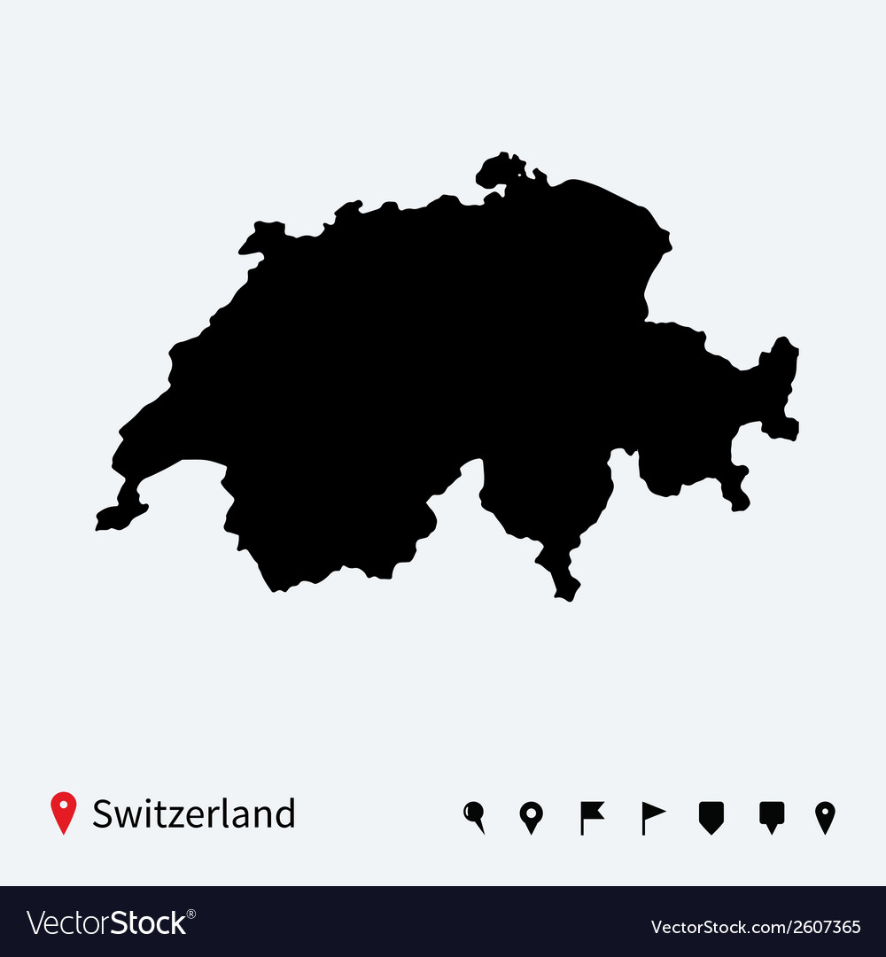 High detailed map of switzerland with navigation vector | Price: 1 Credit (USD $1)