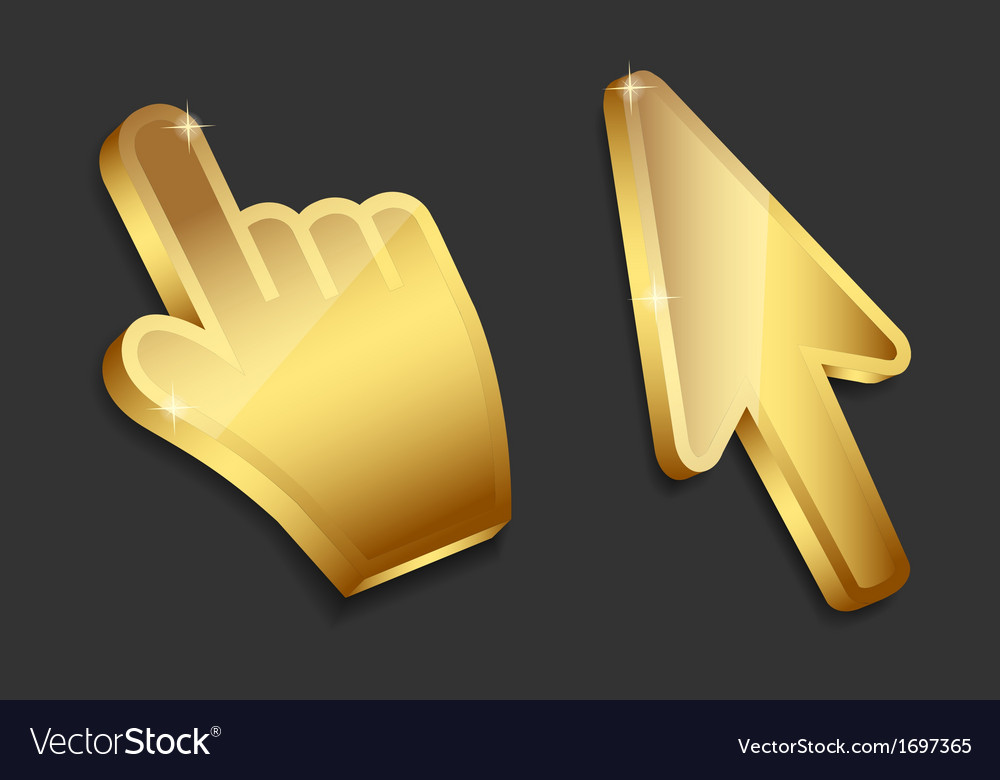 Mouse hand and arrow gold cursors vector | Price: 1 Credit (USD $1)