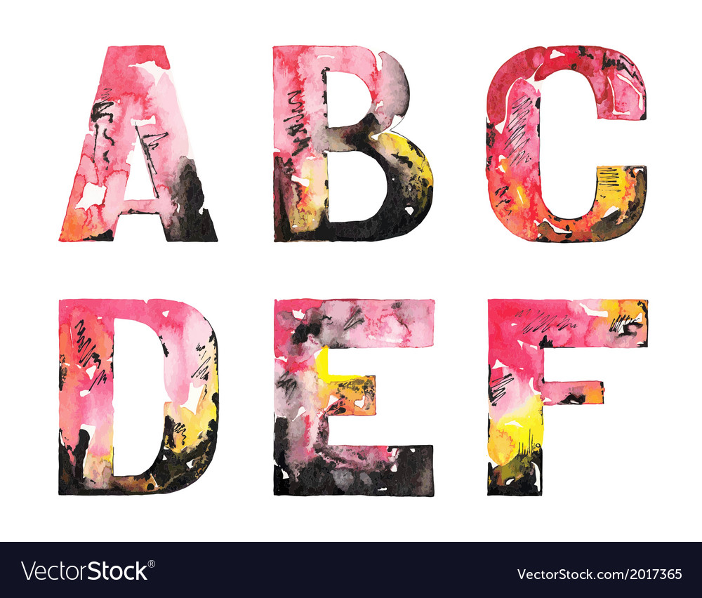 Original handmade watercolor alphabet design vector | Price: 1 Credit (USD $1)