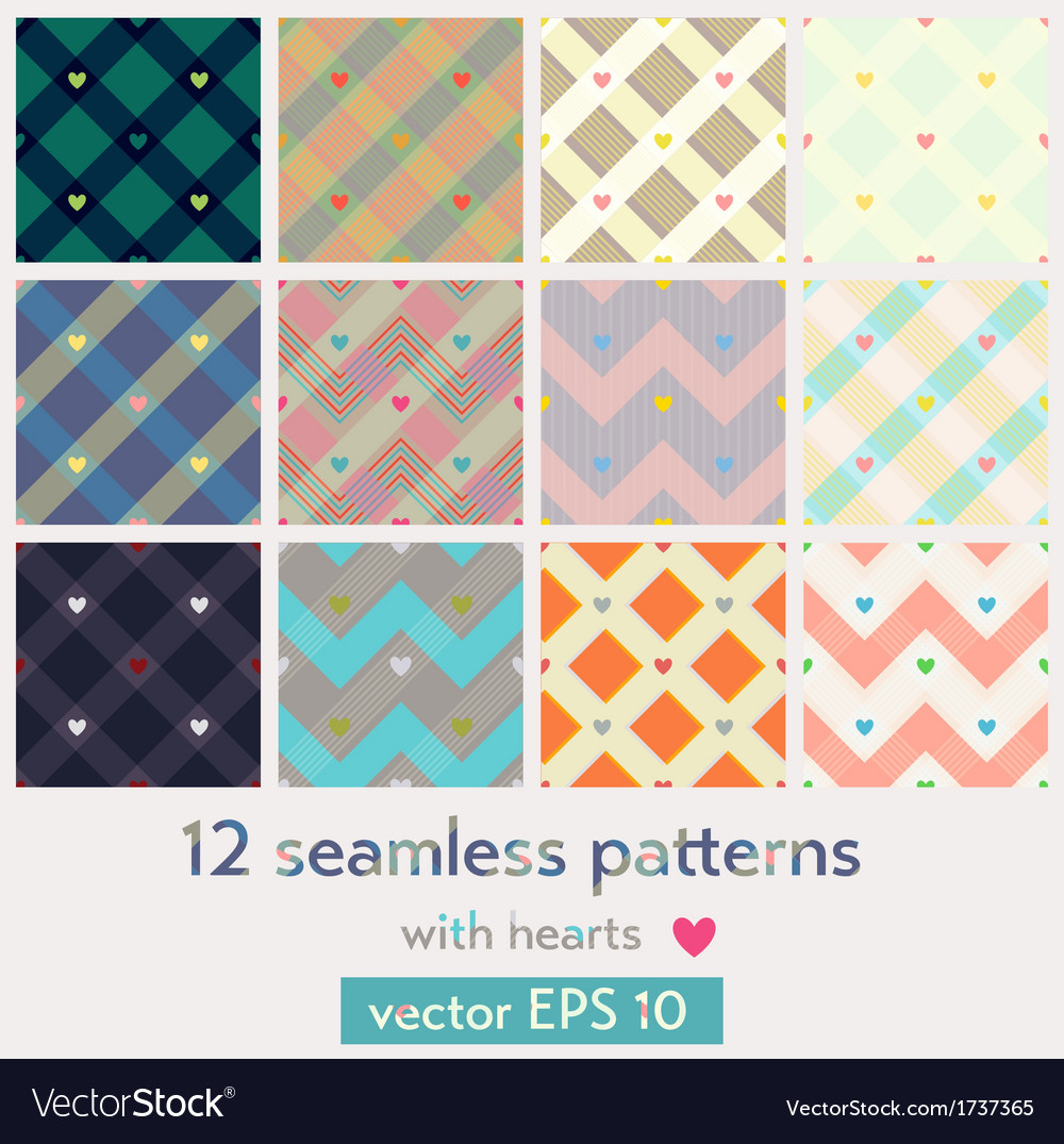 Set of 12 seamless patterns with hearts vector | Price: 1 Credit (USD $1)