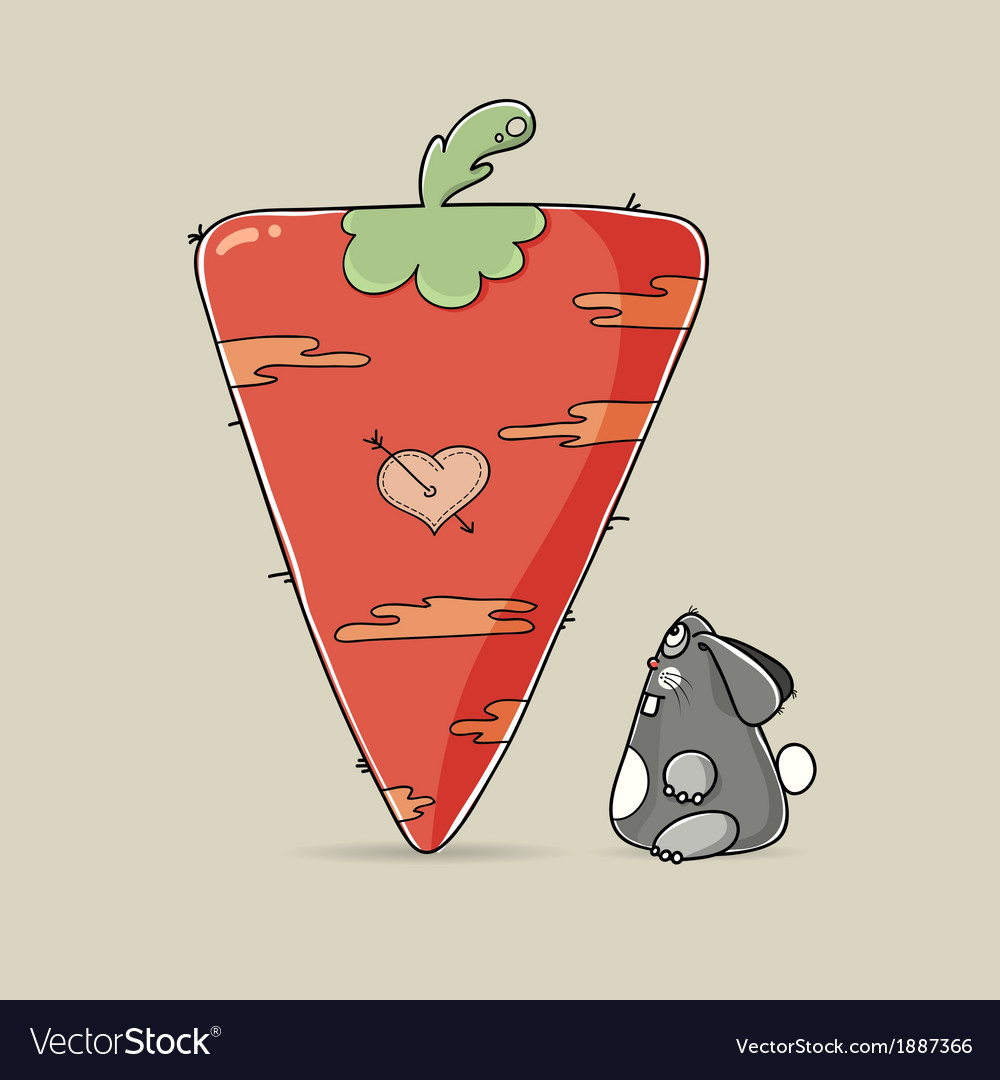 Adorable valentine rabbit looking at big carrot vector   Price: 1 Credit (USD $1)