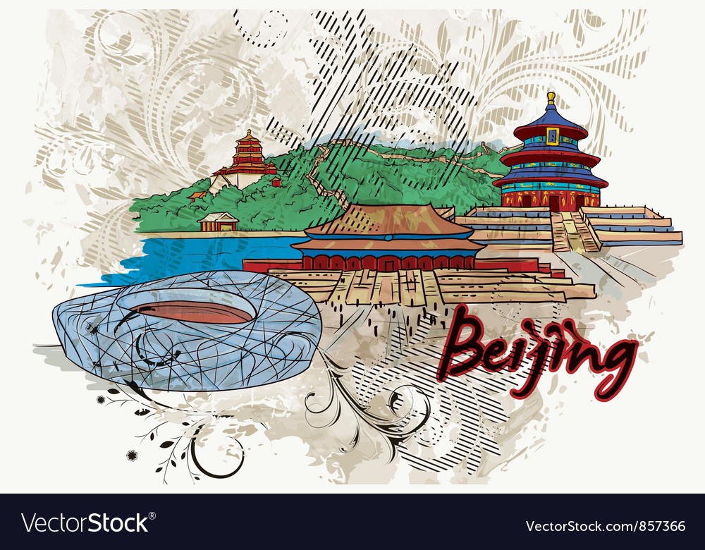 Beijing doodles with floral vector | Price: 3 Credit (USD $3)