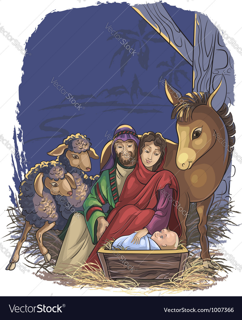 Christmas nativity scene vector | Price: 5 Credit (USD $5)