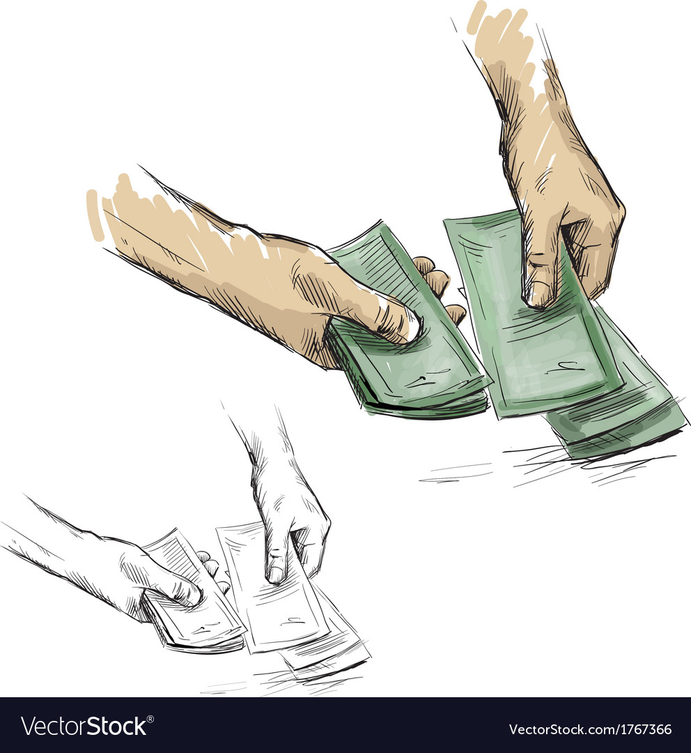Hands counting cash money vector | Price: 1 Credit (USD $1)