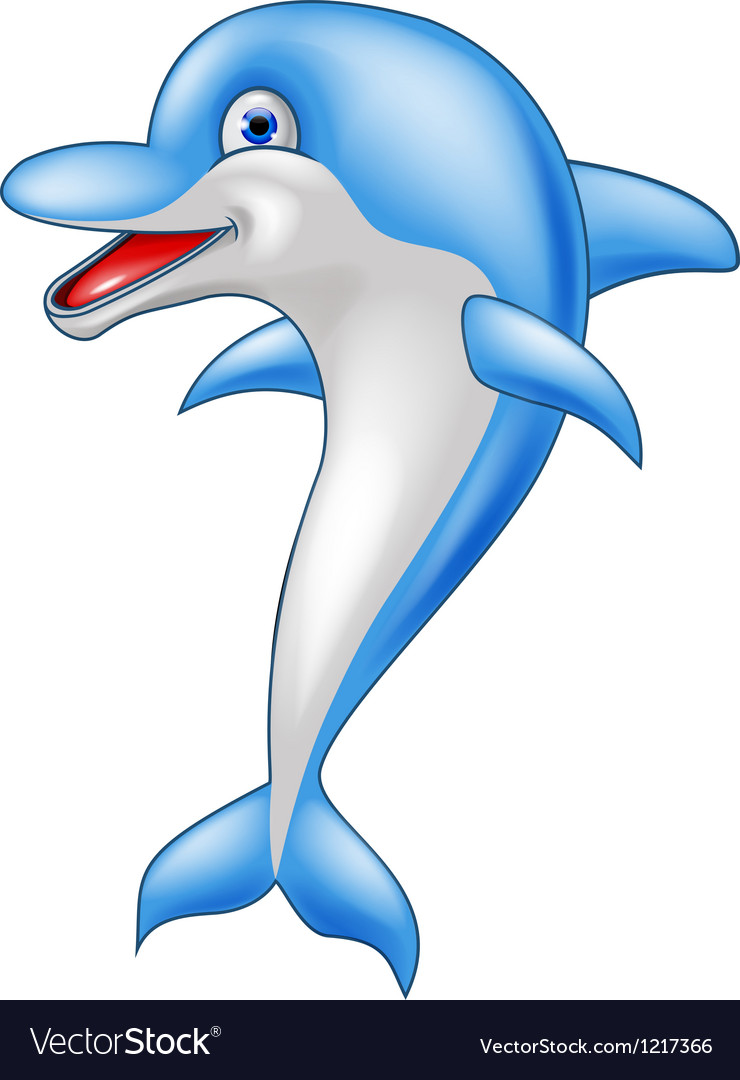 Happy dolphin cartoon vector | Price: 1 Credit (USD $1)