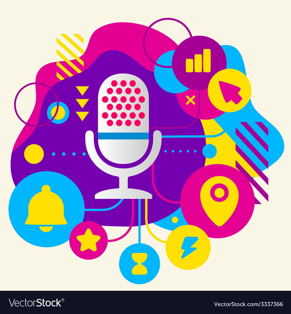 Microphone on abstract colorful spotted background vector | Price: 3 Credit (USD $3)