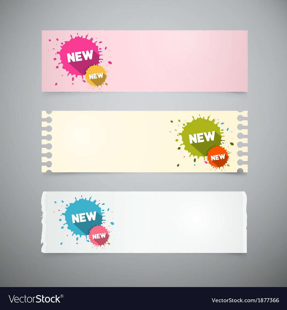 Retro note papers set with colorful stains vector | Price: 1 Credit (USD $1)