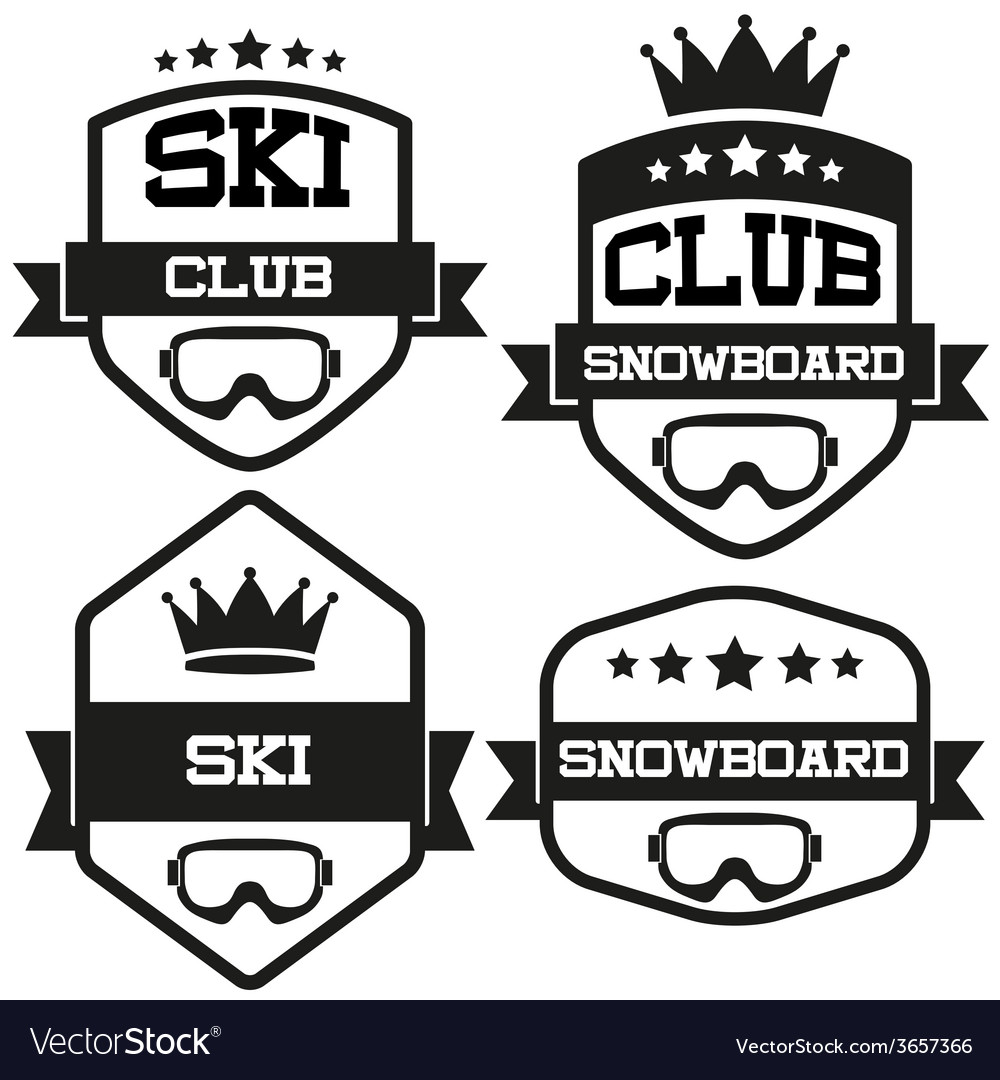Set of vintage ski and snowboard club badge label vector | Price: 1 Credit (USD $1)