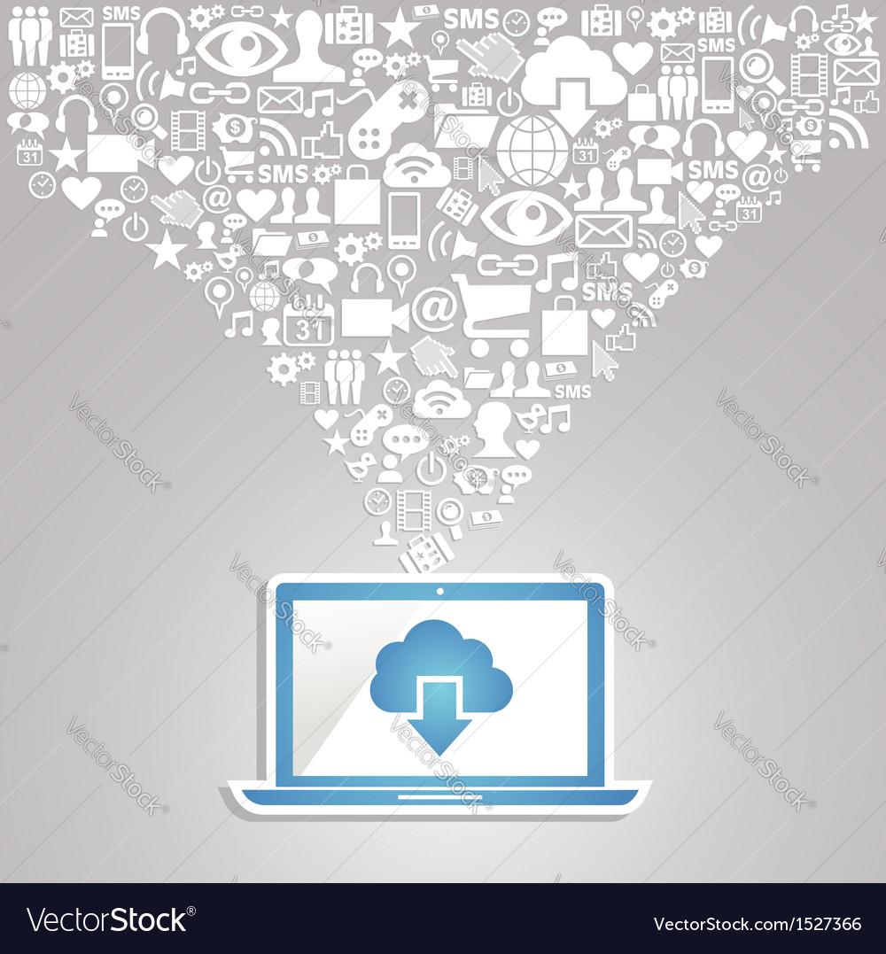 Social media network notebook vector | Price: 1 Credit (USD $1)