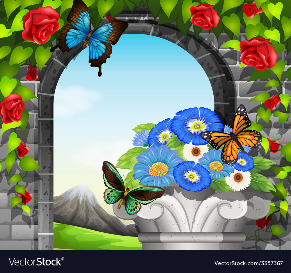 A stonewall with flowering plants and butterflies vector | Price: 3 Credit (USD $3)