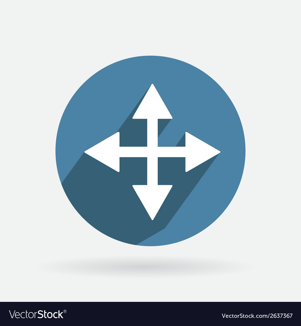 Circle blue icon with shadow the move arrows vector | Price: 1 Credit (USD $1)