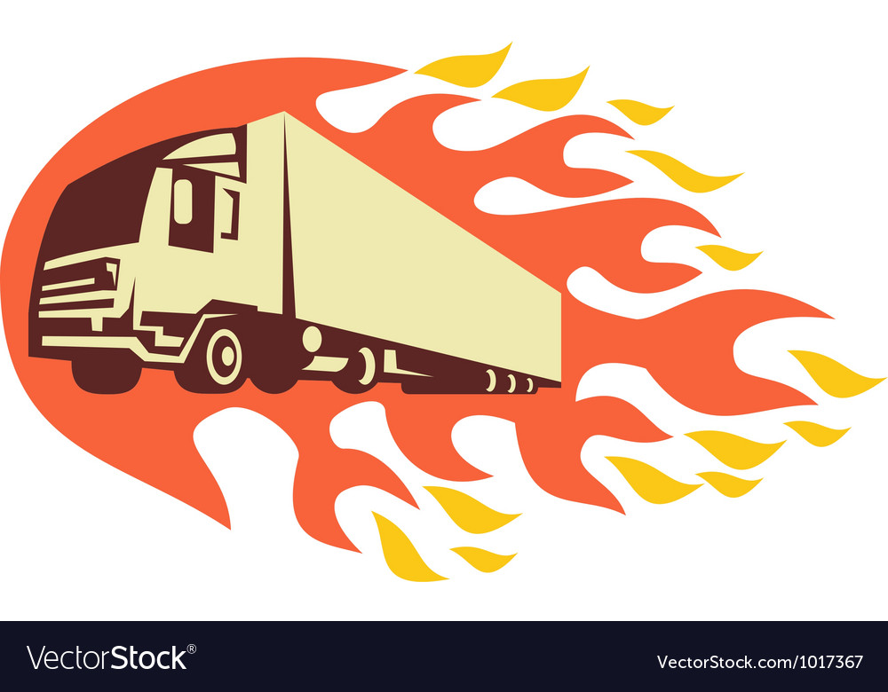 Container truck and trailer flames retro vector | Price: 1 Credit (USD $1)