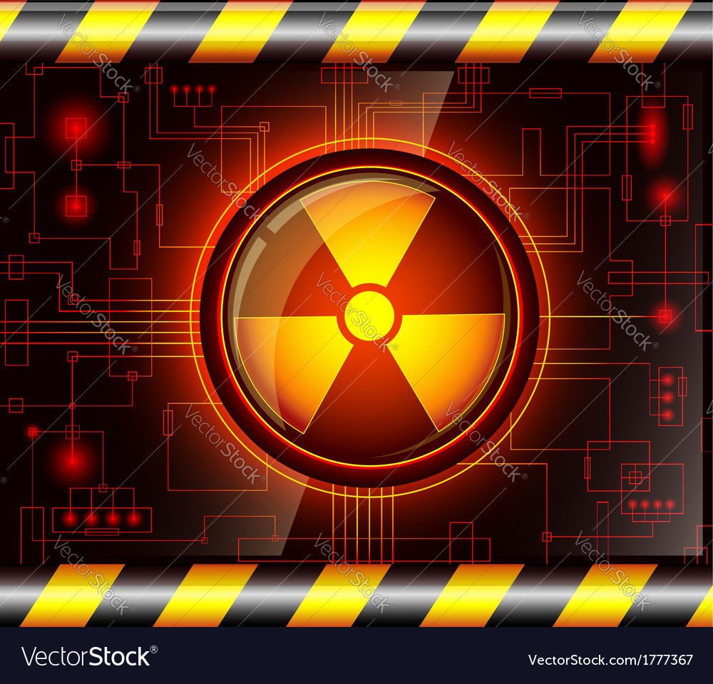 Danger button with the sign of radiation vector   Price: 1 Credit (USD $1)