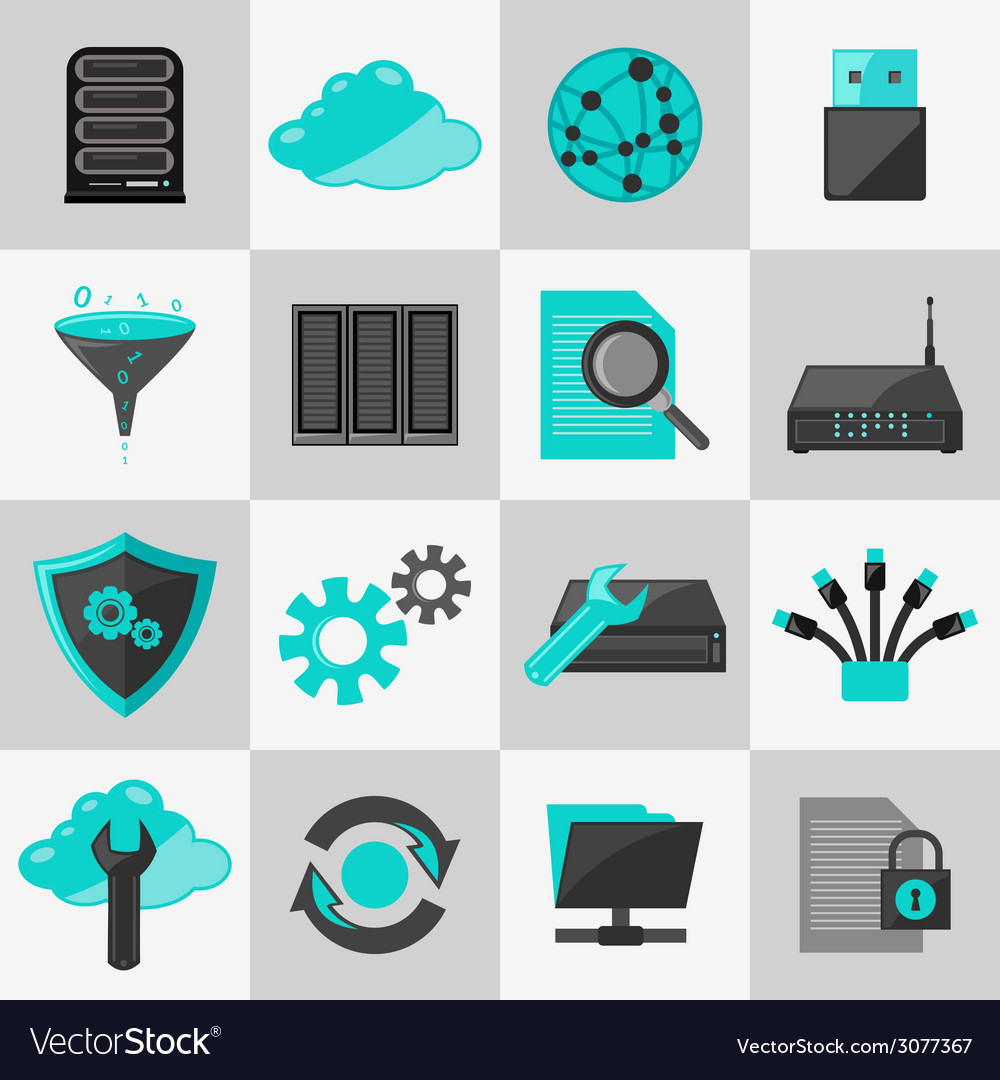 Database icons flat vector | Price: 1 Credit (USD $1)