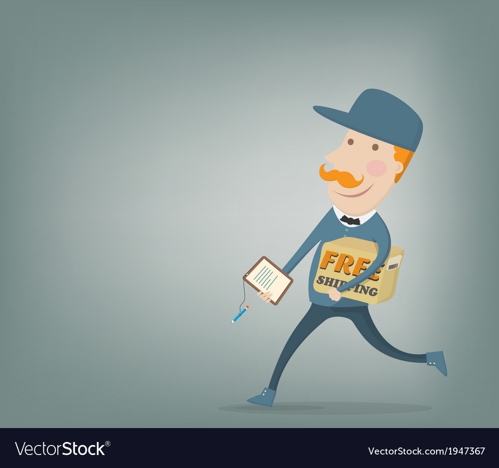 Free shipping courier delivering a package vector   Price: 1 Credit (USD $1)