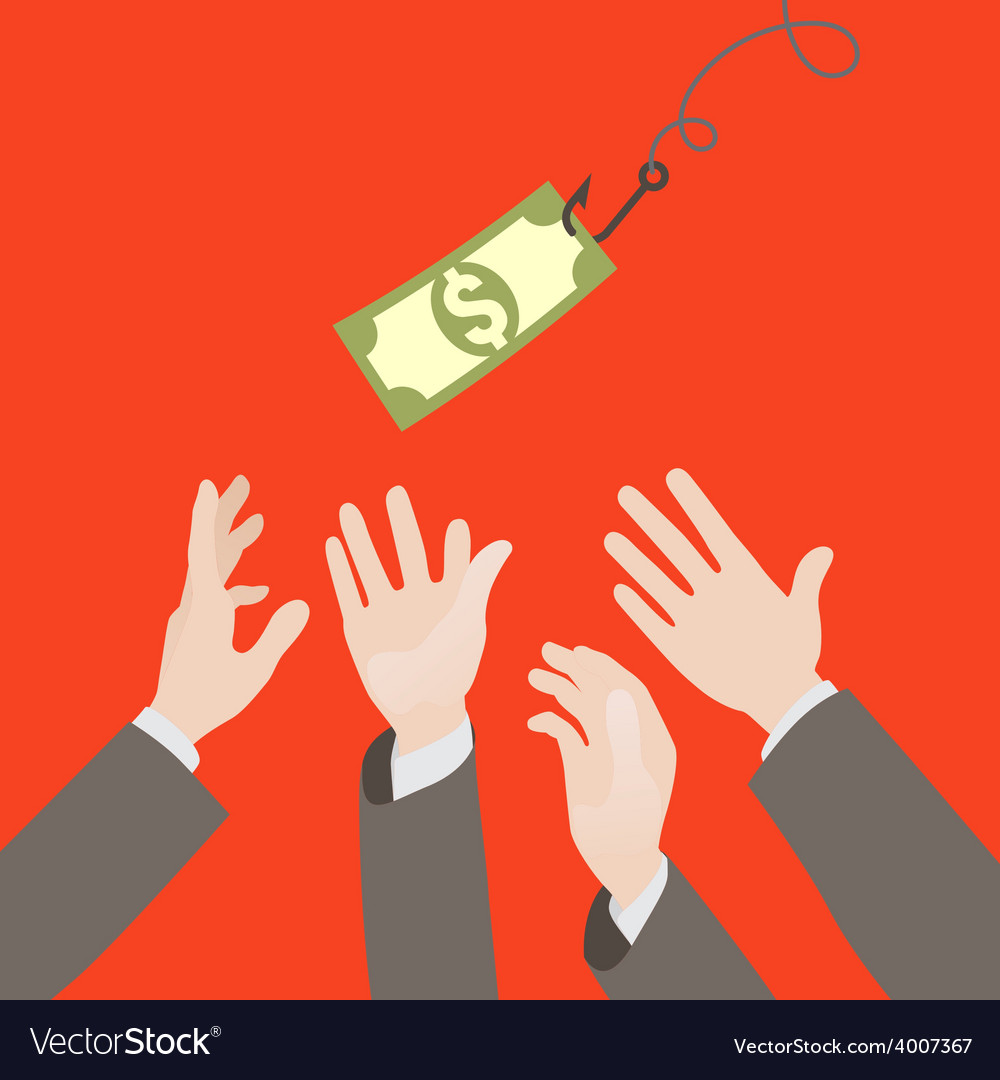 Hooked money and reaching hands vector | Price: 1 Credit (USD $1)