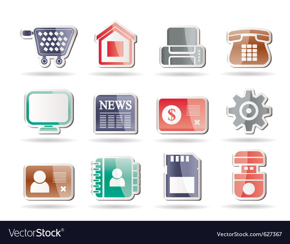 Office and website icons vector | Price: 1 Credit (USD $1)