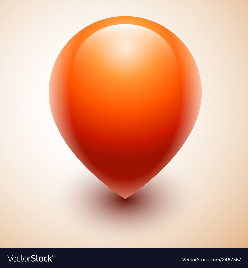 Orange map location pointer icon vector | Price: 1 Credit (USD $1)