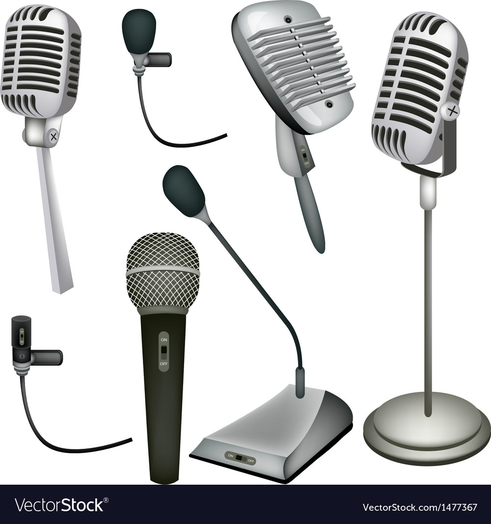 Set of microphone vector | Price: 1 Credit (USD $1)