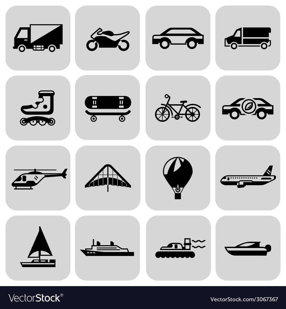 Transport icons black set vector | Price: 1 Credit (USD $1)