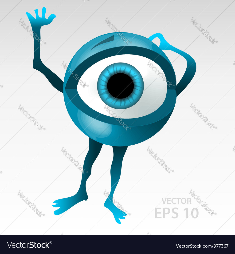 Warning anxious blue eyeball character vector | Price:  Credit (USD $)