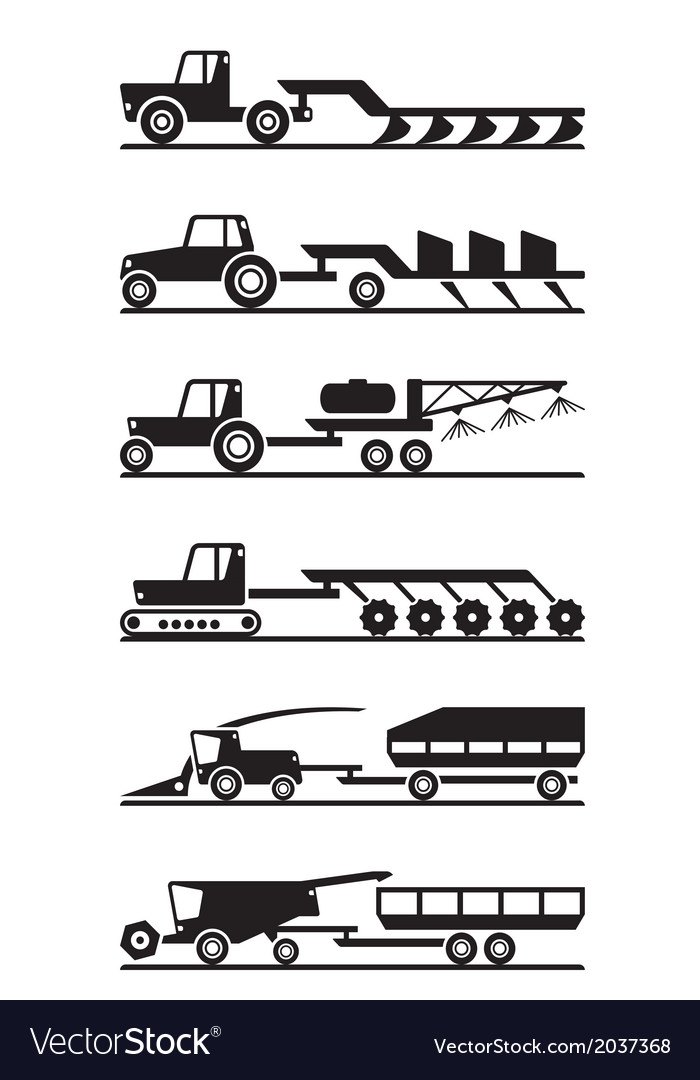 Agricultural machinery icon set vector | Price: 1 Credit (USD $1)