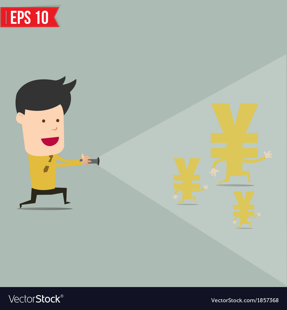 Businessman use flashlight find money vector | Price: 1 Credit (USD $1)