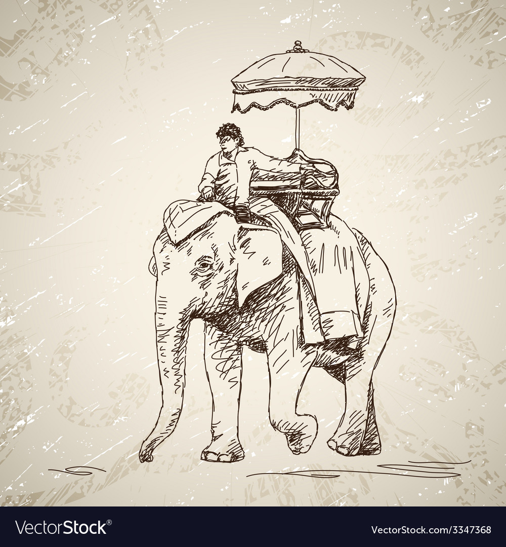 Elephant with man vector | Price: 1 Credit (USD $1)
