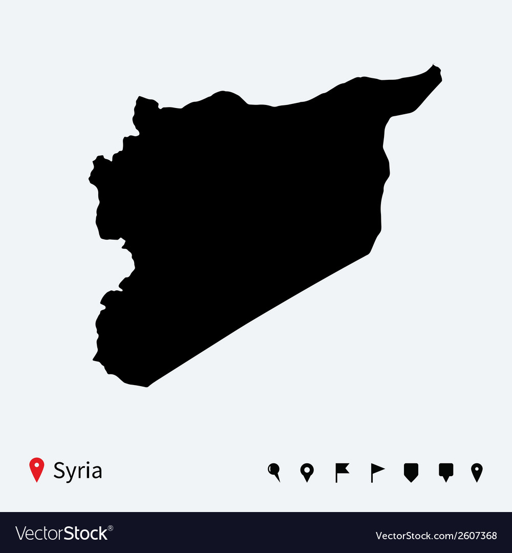 High detailed map of syria with navigation pins vector | Price: 1 Credit (USD $1)
