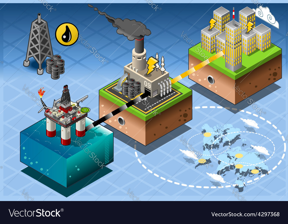 Isometric infographic petroleum rig energy diagram vector | Price: 3 Credit (USD $3)