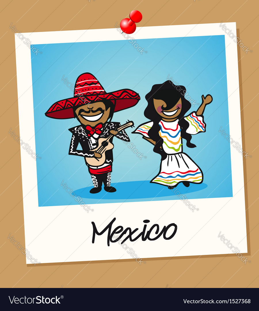 Mexico travel polaroid people vector | Price: 1 Credit (USD $1)