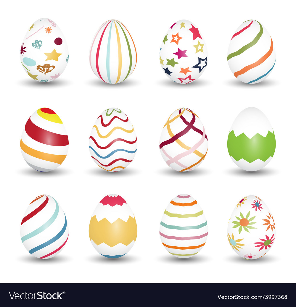 Set of easter egg icons vector | Price: 1 Credit (USD $1)