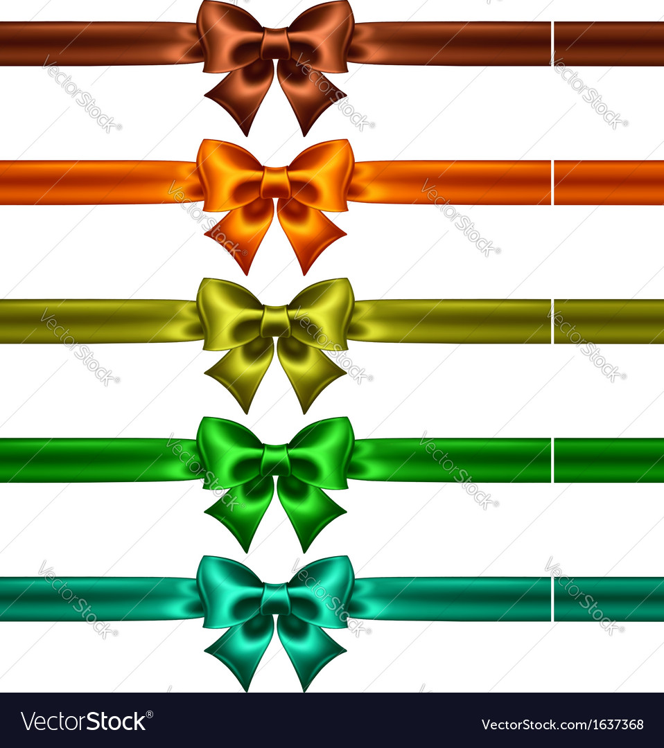 Silk bows with ribbons in dark colors vector | Price: 1 Credit (USD $1)