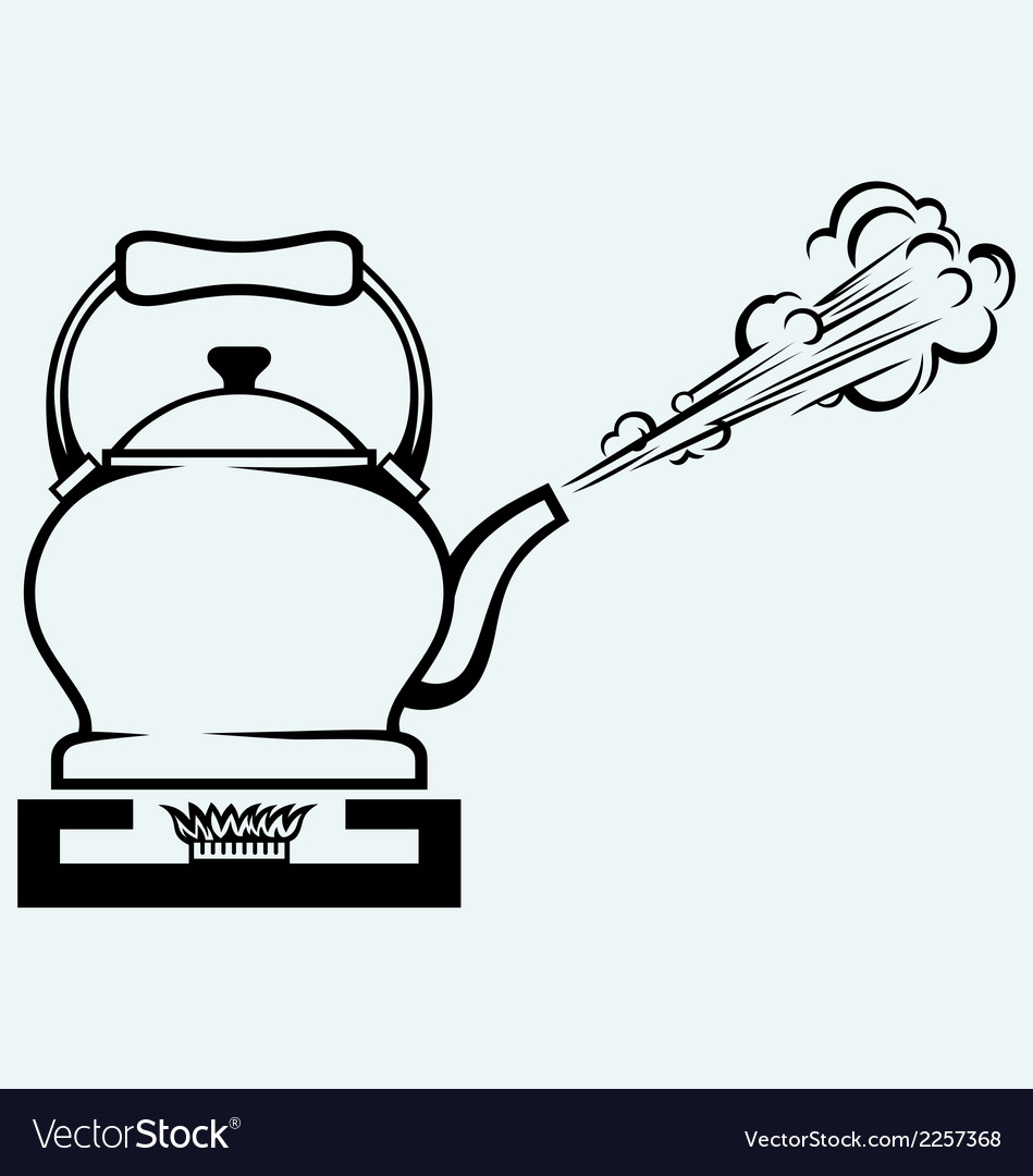 Tea kettle on gas stove vector | Price: 1 Credit (USD $1)