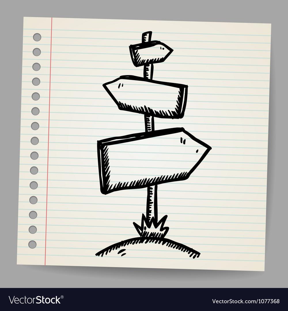 Wood sign board - cartoon doodle vector   Price: 1 Credit (USD $1)