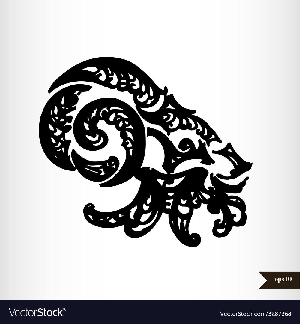 Zodiac signs black and white - capricorn vector   Price: 1 Credit (USD $1)