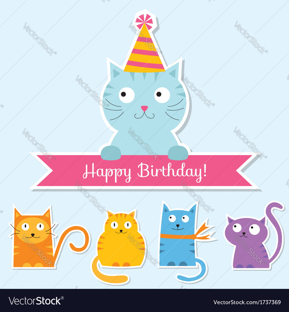 Birthday cat card vector | Price: 1 Credit (USD $1)